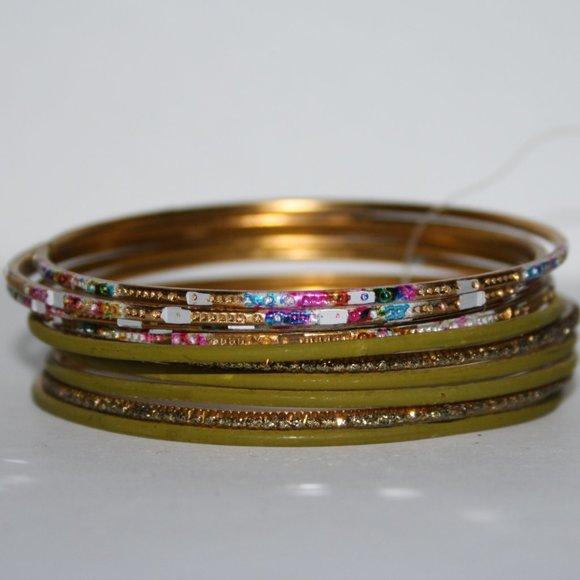 NWT gold and olive bracelet bangle set